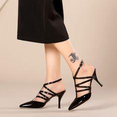 Black Bridal Party High Heels With Belt [VIVIDRESS10288] - R972 : vividress.co.za Gladiator Sandals Heels, Shoes Heels Pumps, Slingback Shoes, Stiletto Pumps, High Heels Stilettos, Ankle Strap Heels, White High Heels, Fashion Shoes, Patent Leather