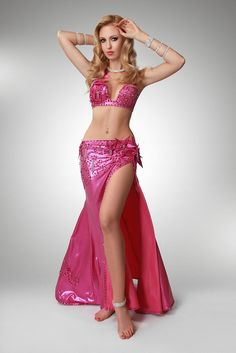 Pink belly dance costume with flovers