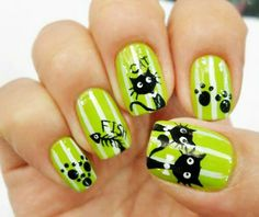 Loving This Lime Green ~ :) More and like OMG! get some yourself some pawtastic adorable cat shirts, cat socks, and other cat apparel by tapping the pin! Cat Nail Art, Funky Nail Art, Animal Nail Art, Cat Nails, Nail Polish Art, Funky Nails, Simple Nail Art Designs, Nail Designs, Nailart