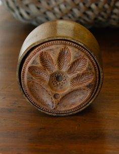 Antique Primitive Wood Butter Mold Flower #Primitive