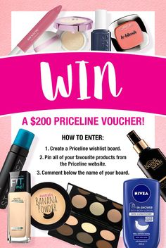 WIN a $200 Priceline voucher! Simply head to the Priceline website by clicking this image and create a wishlist board of your favourite products. Comp ends Wednesday 29th June 2016. #PinterestCompetition Wish Board, Banana Powder, Body Lotion, Manicure, Eyeshadow, Cosmetics, My Favorite Things, Competition, Website