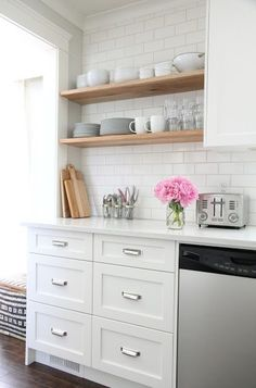 Wood Shelves in kitchen | danielle oakey interiors