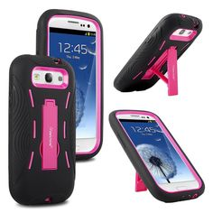 SamsungGalaxy S3 III S 3 Black Pink Impact Hybrid Case W/ Kick Stand Verizon, Sprint, Tmobile, AT&T International (I535 T999 L710 I747 I9300). 100% Brand New for Samsung Galaxy S 3. Build-in Kick Stand perfect for movie, video and digital photo frame. Design for maximum grip and impact protection for your galaxy s3. Precise cut-outs for all ports and buttons to allows complete interaction of your Samsung Galaxy S 3. Double Layers and hybrid design for maximum impact protection.