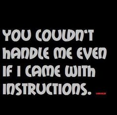 #Quote: You couldn´t handle me even if I came with instructions