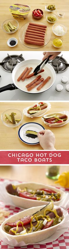 Craving a taste of Chicago? Try this new twist on the classic Chicago Hot Dog! Old El Paso Taco Boats™ are the perfect vessel for piling up all of your favorite Chicago-style hot dog toppings, and getting every flavor in each bite! This fun twist on the classic Chicago treat is ready to eat in just 20 minutes - don't forget the mustard!
