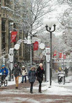 Snowfall at Temple University in Philadelphia. http://studyusa.com/