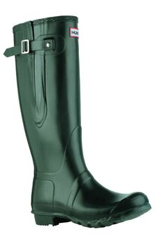 Hunter Original Adjustable Wellington Boots in green, angled view