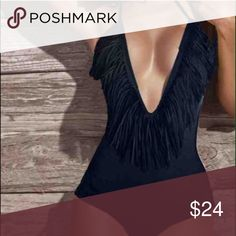 New Sexy black fringe one-piece suit-Sz 00 or XXS New Sexy black fringe one-piece suit- Beautiful and sexy new suit with slightly padded bra area. Suit fits petite Sz 00 or XXS the best. Might fit XS or 0. Very flattering fit 💙 Swim One Pieces