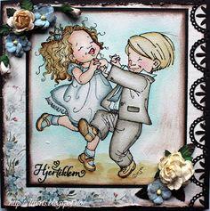 "Liverts liv i sus og dus: Card with Mo Manning image ""Dancing and Singing""."