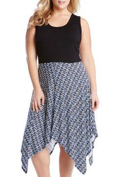 Karen Kane  Jamie  Mixed Media Handkerchief Hem Dress (Plus Size) 139a75df9dfaf