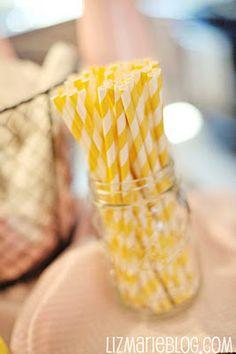 striped straws + mason jars