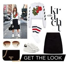 """""""Recreation"""" by msbeaunda ❤ liked on Polyvore featuring Gucci, Off-White, Boohoo, Alexander McQueen, Christian Dior and Prada"""