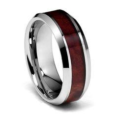 8mm Genuine Mahogany Wood Inlay Men's Tungsten Wedding Band - Size 10.5 TWJC Tungsten Collection