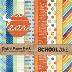 School Zone digital scrapbook papers from peppermintcreative.com