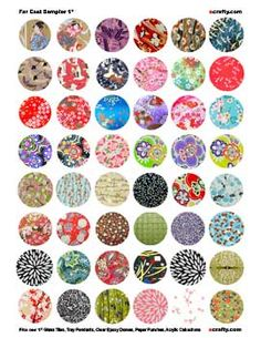 "Downloadable Collage Elements 1"" Circles Far East Sampler"