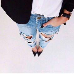 81361208e Jeans Rasgado, Calça Jeans Rasgada, Jeans Feminino, Estilo Pessoal,  Inspiração Fashion,