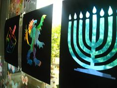 """""""Stained Glass"""" Menorah Art for your windows"""