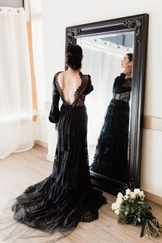 Imagine I walking down the aisle in one of these lovely gorgeous black sparkly ball gown lace wedding dress, with a train flowing behind me and a veil that acce Goth Wedding Dresses, Black Wedding Gowns, Gothic Wedding, Bridal Dresses, Lace Wedding, Wedding Bride, Formal Dresses, Lace Ball Gowns, Bridal Photoshoot