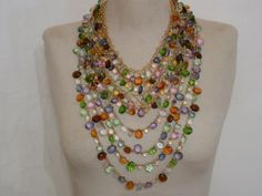 two necklaces with glass beads