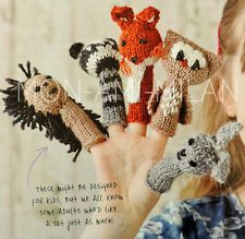 Knitting Pattern 5 CUTE FINGER PUPPETS FOX RACCOON RABBIT HEDGEHOG OWL DK EASY