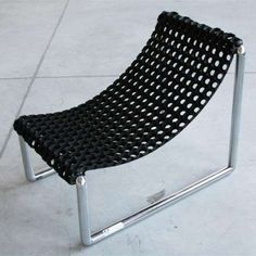 pipe, plastic mat, zip ties - could probably do in copper w/ coir mat for a more natural look. Can pipes screw together to make it easy to break down? The photos at http://www.trendhunter.com/trends/p-3-chair show you how to do it.