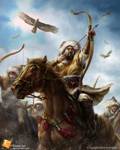 Mongol Horse Archer in battle Character Inspiration, Character Art, Genghis Khan, The Legend Of Heroes, Empire Of Storms, Warrior Spirit, Sapporo, Fantasy Warrior, Medieval Fantasy