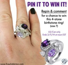 Pin to Win this Fancy Swirl 4-stone Birthstone Ring! (Size 7)  How to enter:  1. Repin this pin. 2. Comment on this Pin. 3. Follow Eve's Addiction on Pinterest  US/CAN only. One winner selected at random 2/11/14 at noon EST.