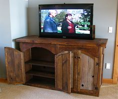 Rustic Barn Wood TV Lift Cabinet