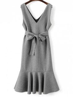 Sleeveless Peplum Hem Wool Blend Dress - GRAY M