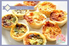 Mini Quiches Mini Quiches are an all time favourite - these freeze really well in a zip lock bag - they are perfect for when guests drop around, kids lunches, or just a snack! Frozen Appetizers, Make Ahead Appetizers, Appetizer Recipes, Party Appetizers, Savoury Finger Food, Savory Snacks, Mini Quiches, Baby Food Recipes, Snack Recipes