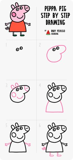 Peppa pig step by step drawing. How to draw Peppa pig easy Peppa pig step by step drawing. How to draw Peppa pig easy Peppa Pig Painting, Peppa Pig Drawing, Peppa Pig Cartoon, Peppa Pig Coloring Pages, Coloring Pages For Kids, Art Drawings For Kids, Drawing For Kids, Peppa Pig Happy Birthday, Toddler Drawing