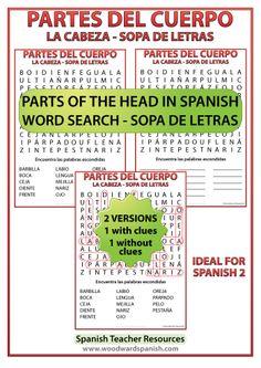 Parts of the Head Spanish Vocabulary Word Search. Sopa de letras - Vocabulario de las partes de la cabeza.