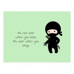 Tiny Ninja Holding Throwing Star on Green Quote Postcard - postcard post card postcards unique diy cyo customize personalize