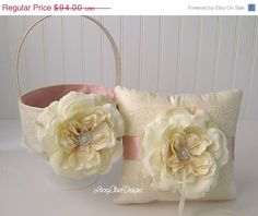 Sale Flower Girl Basket and Wedding Ring by LaceyClaireDesigns, $84.60