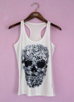 Kup mój przedmiot na #Vinted http://www.vinted.pl/kobiety/koszulki-na-ramiaczkach-koszulki-bez-rekawow/9535193-bialy-top-t-shirt-z-czaszka