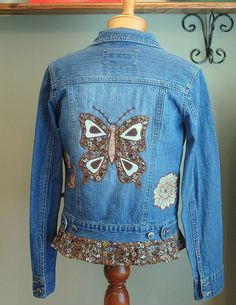 Butterfly Hippie Jacket by TheSunshinePatch, Jacket I upcycled making handmade appliques and satin stitching them in place