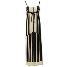 1970s Pauline Trigere Black & White Abstract Stripe Silk Gown