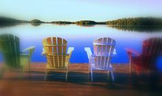 Muskoka Chairs on Beach Adirondack Chairs, Outdoor Chairs, Outdoor Decor, Autumn Lake, Lodge Style, Painted Chairs, All Inclusive Resorts, Lake View, Life Is Good
