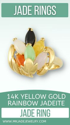 Lovely 14K yellow gold ring with 6 multi-color marquise shaped cabochon stones set in a leaf motif designed ring. Finger size 6.5. Use discount code INSTA10JORDAN at checkout!