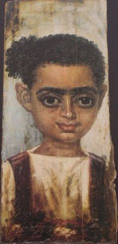Portrait of a young woman from Fayum. At this time, Ancient Egypt had become a Roman colony, and Africans began mixing with both black and white Southern Europeans.