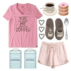 """Good Morning, Coffee!"" by lgb321 ❤ liked on Polyvore featuring Life is good, Versace, Kitchen Craft, Haflinger, coffee and fashionset"