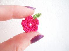 Crochet Flowers & Leaves Garden/Meadow Appliques by CrochetPocket, $2.48 Crochet Leaves, Crochet Flowers, Pink Flowers, Bright Pink, Pink And Green, Meadow Garden, Craft Corner, Spring Green, Knit Crochet