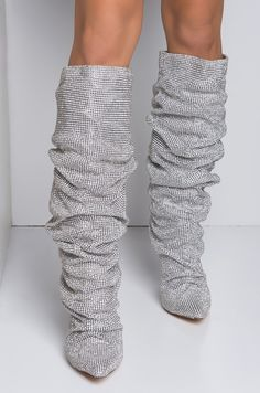 475008f44f2 Front View For Realz Slouchy Coned Heeled Over The Knee Boots in Silver  Glitter Cookie Lyon