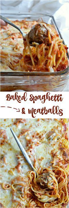 Cheesy Baked Spaghetti and Meatballs is a new fun way to serve this family favorite comfort food! Add this dinner recipe to your menu for spaghetti with a twist. A simple casserole made with layers of pasta, marinara sauce, cheese and meatballs.