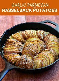 Hasselback Potatoes with Parmesan and Roasted Garlic Hasselback Potatoes with Parmesan and Roasted Garlic are your next favorite side dish! With meaty potatoes and loads of garlic and Parmesan flavor, they're sure to be a dinner hit! Cast Iron Skillet Cooking, Iron Skillet Recipes, Cast Iron Recipes, Garlic Recipes, Potato Recipes, Potato Ideas, Side Dish Recipes, Dinner Recipes, Dessert Recipes