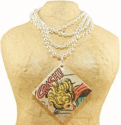 Recycled Vintage Comic Book Necklace Supergirl CRASH by Ecoweaver