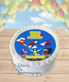 Superheroes in Action Clipart Edible Image Cake Topper [ROUND]