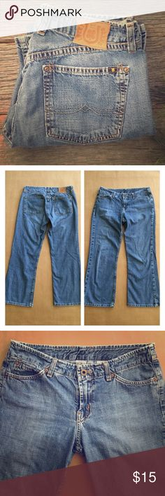 Lucky Brand Dungarees Jeans These are Lucky Brand Dungarees wild child crop -46. These jeans have some wear but no flaws that I could find. They are size 4. Waist measures 15 inches across and the inseam is 24 inches. Lucky Brand Jeans Ankle & Cropped