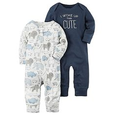 "carter's® 2-Pack ""I Woke Up This Cute"" Babysoft Coveralls in Navy"