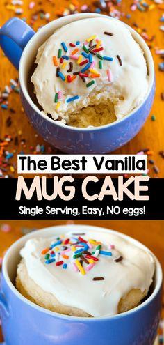 Vanilla Mug Cake (EASY 2 minute recipe) Mug Recipes, Baking Recipes, Cake Recipes, Snack Recipes, Vegan Recipes, Snacks, Vegan Sweets, Healthy Desserts, Easy Desserts